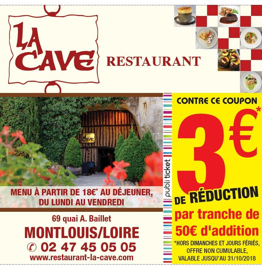 proxi bon plan restaurant la cave montlouis sur loire r duction. Black Bedroom Furniture Sets. Home Design Ideas